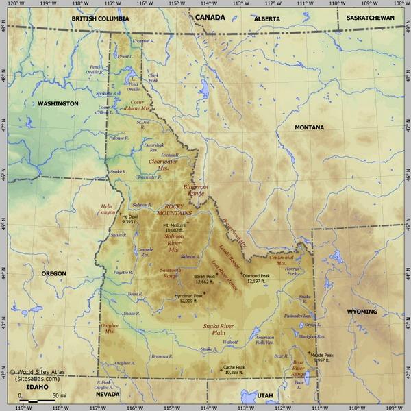 Штат Айдахо на карте