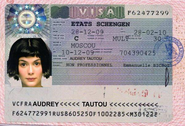 Образец визы во Францию