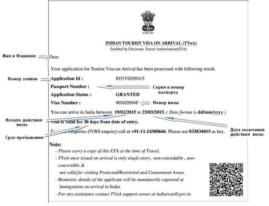 Образец подтверждения индийской электронной визы