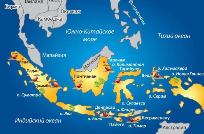 Карта островов Индонезии